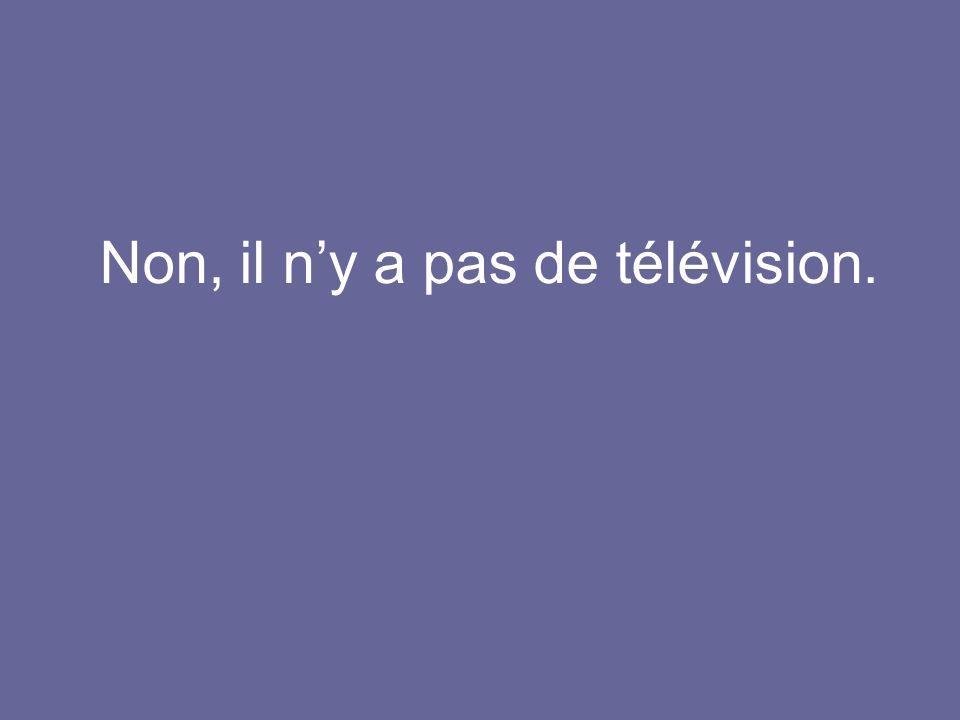 Non, il ny a pas de télévision.