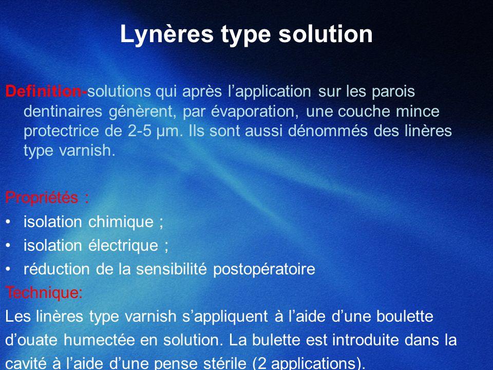 Lynères type solution Definition-solutions qui après lapplication sur les parois dentinaires génèrent, par évaporation, une couche mince protectrice d