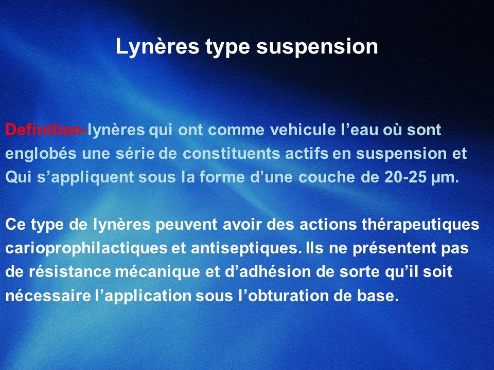 Lynères type suspension Definition-lynères qui ont comme vehicule leau où sont englobés une série de constituents actifs en suspension et Qui sappliqu