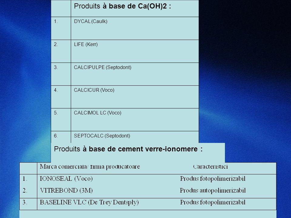 Produits à base de Ca(OH)2 : 1.DYCAL (Caulk) 2.LIFE (Kerr) 3.CALCIPULPE (Septodont) 4.CALCICUR (Voco) 5.CALCIMOL LC (Voco) 6.SEPTOCALC (Septodont) 7.V
