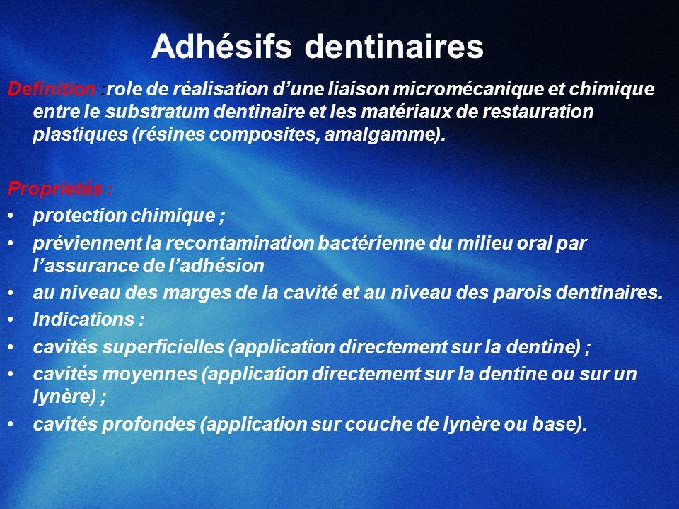 Adhésifs dentinaires Definition :role de réalisation dune liaison micromécanique et chimique entre le substratum dentinaire et les matériaux de restau