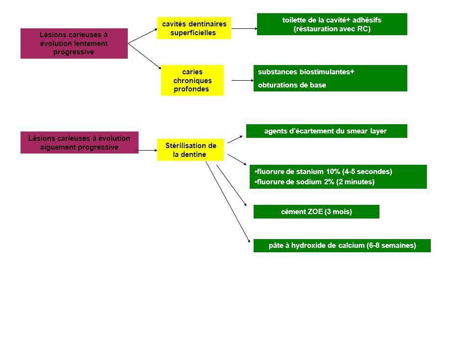 Lesions carieuses chronique Lesions carieuses aigues AmalgammeResines compositesAmalgammeResines composites Liner de type solutionAdhesifs amelo- dentinaires