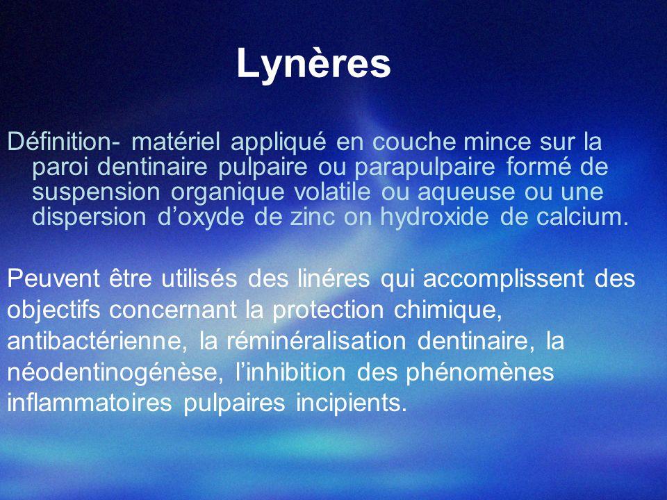 Lynères type solution Definition-solutions qui après lapplication sur les parois dentinaires génèrent, par évaporation, une couche mince protectrice de 2-5 µm.