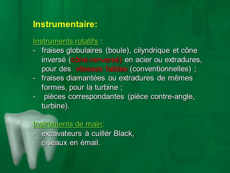 Instrumentaire: Instruments rotatifs Instruments rotatifs : -fraises globulaires (boule), cilyndrique et cône inversé (cône-renversé) en acier ou extr