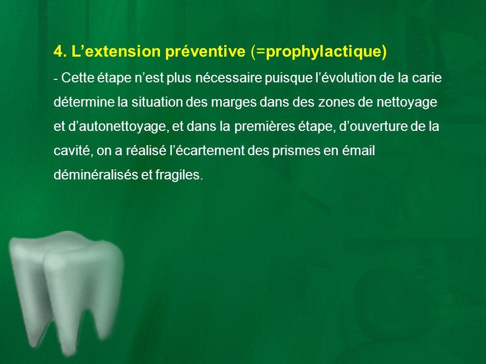 4. Lextension préventive (=prophylactique) - Cette étape nest plus nécessaire puisque lévolution de la carie détermine la situation des marges dans de