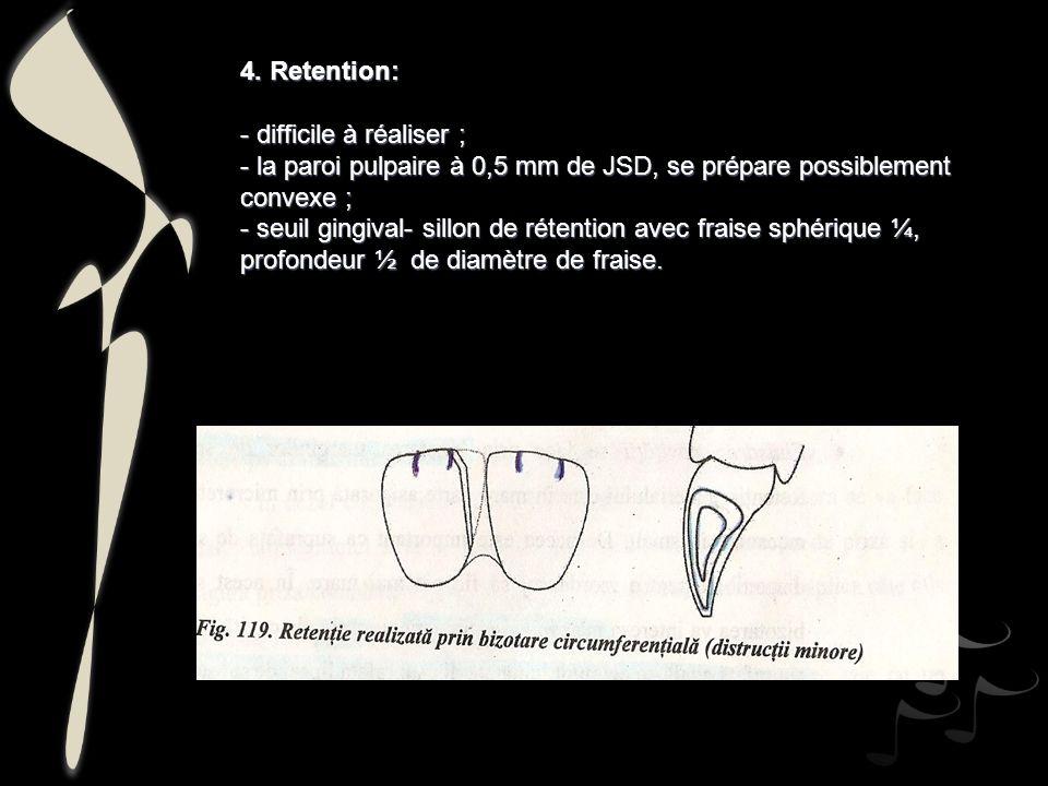 4. Retention: - difficile à réaliser ; - la paroi pulpaire à 0,5 mm de JSD, se prépare possiblement convexe ; - seuil gingival- sillon de rétention av