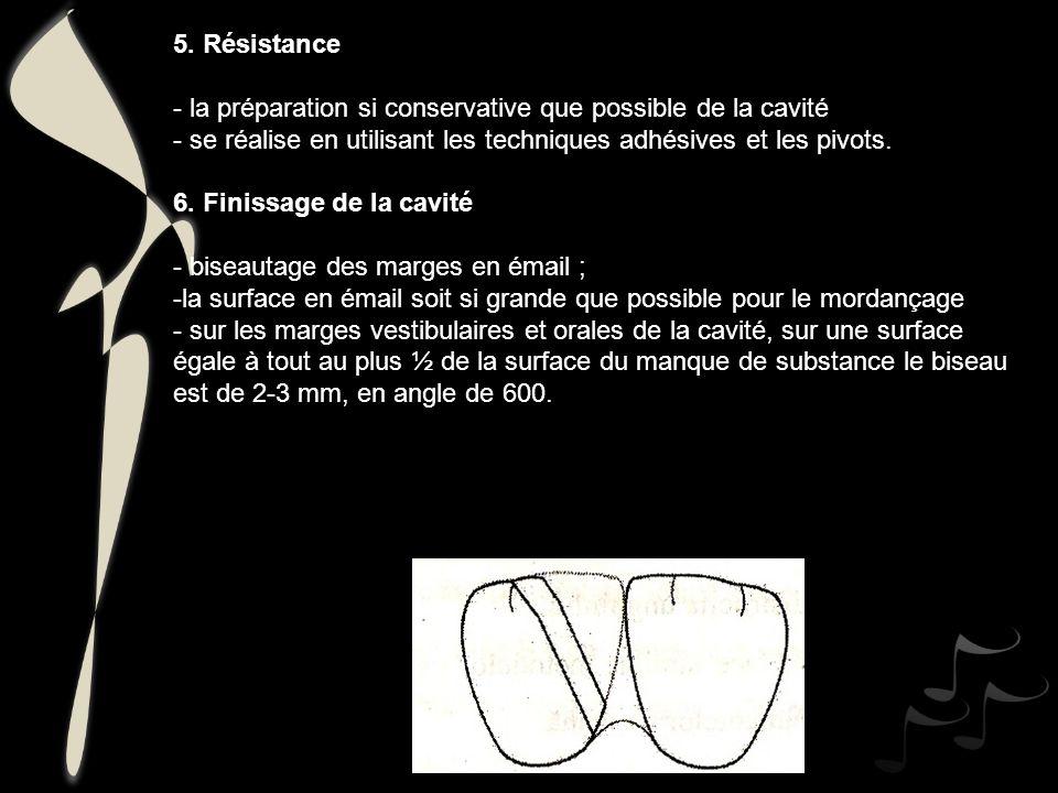 5. Résistance - la préparation si conservative que possible de la cavité - se réalise en utilisant les techniques adhésives et les pivots. 6. Finissag