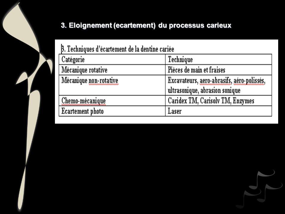 3. Eloignement (ecartement) du processus carieux