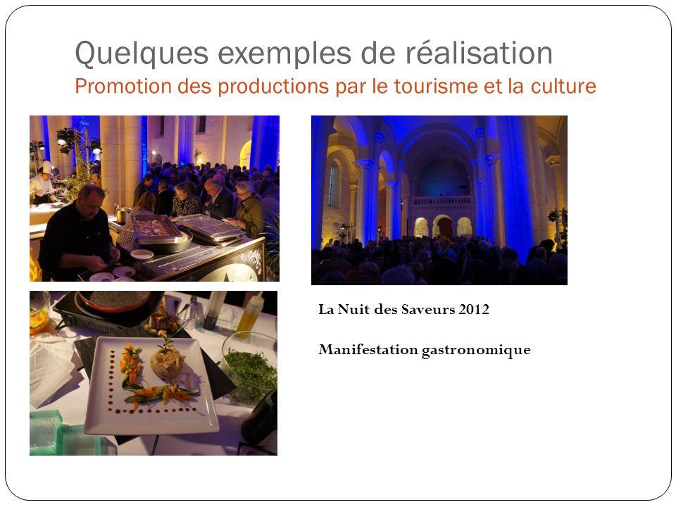 Quelques exemples de réalisation Promotion des productions par le tourisme et la culture La Nuit des Saveurs 2012 Manifestation gastronomique