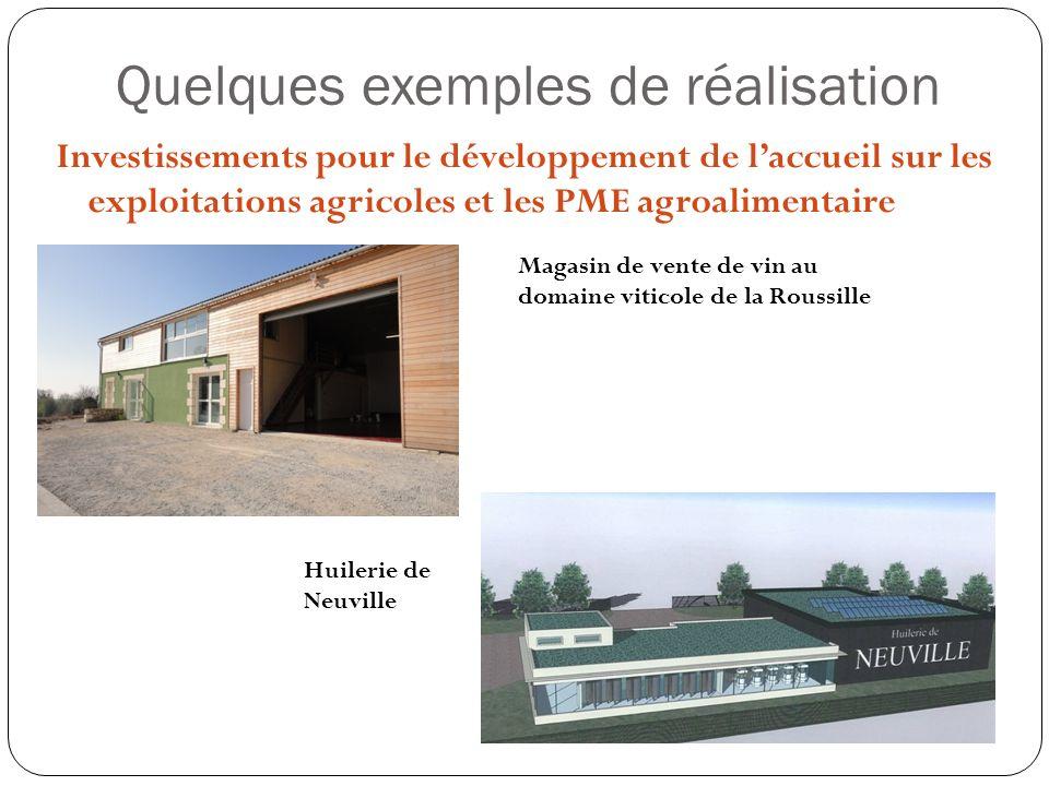 Quelques exemples de réalisation Investissements pour le développement de laccueil sur les exploitations agricoles et les PME agroalimentaire Magasin de vente de vin au domaine viticole de la Roussille Huilerie de Neuville