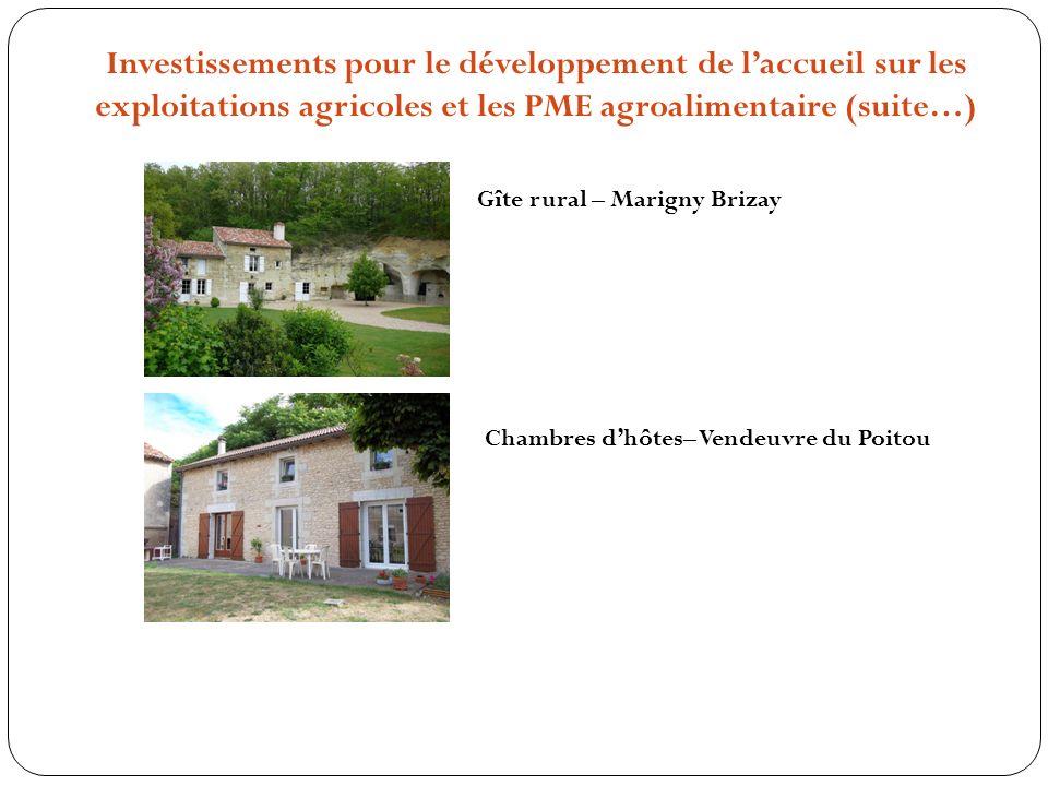 Investissements pour le développement de laccueil sur les exploitations agricoles et les PME agroalimentaire (suite…) Gîte rural – Marigny Brizay Chambres dhôtes– Vendeuvre du Poitou