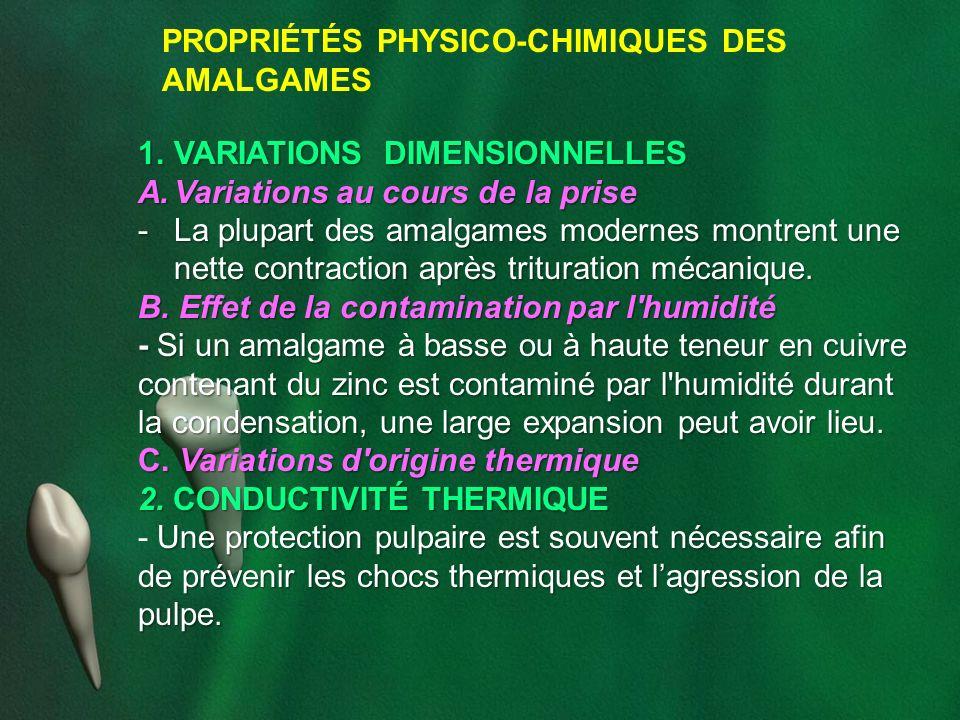 PROPRIÉTÉS PHYSICO-CHIMIQUES DES AMALGAMES 1.VARIATIONS DIMENSIONNELLES A.Variations au cours de la prise -La plupart des amalgames modernes montrent
