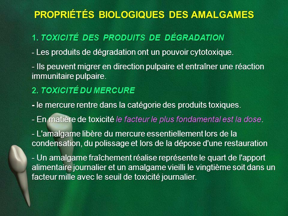 PROPRIÉTÉS BIOLOGIQUES DES AMALGAMES 1. TOXICITÉ DES PRODUITS DE DÉGRADATION - Les produits de dégradation ont un pouvoir cytotoxique. - Ils peuvent m