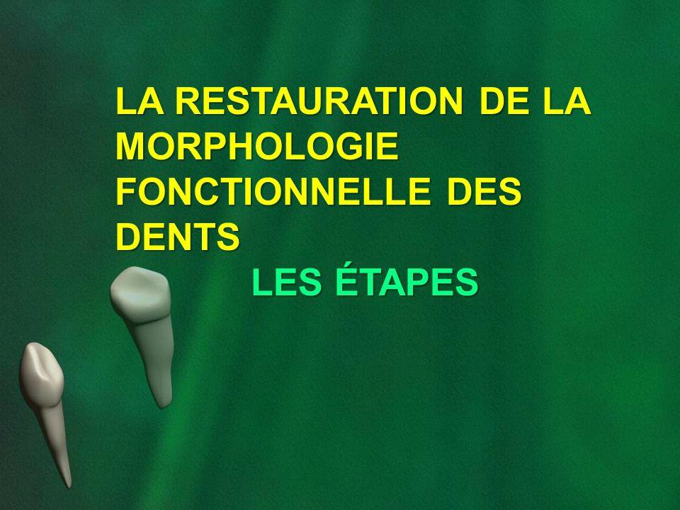 LA RESTAURATION DE LA MORPHOLOGIE FONCTIONNELLE DES DENTS LES ÉTAPES
