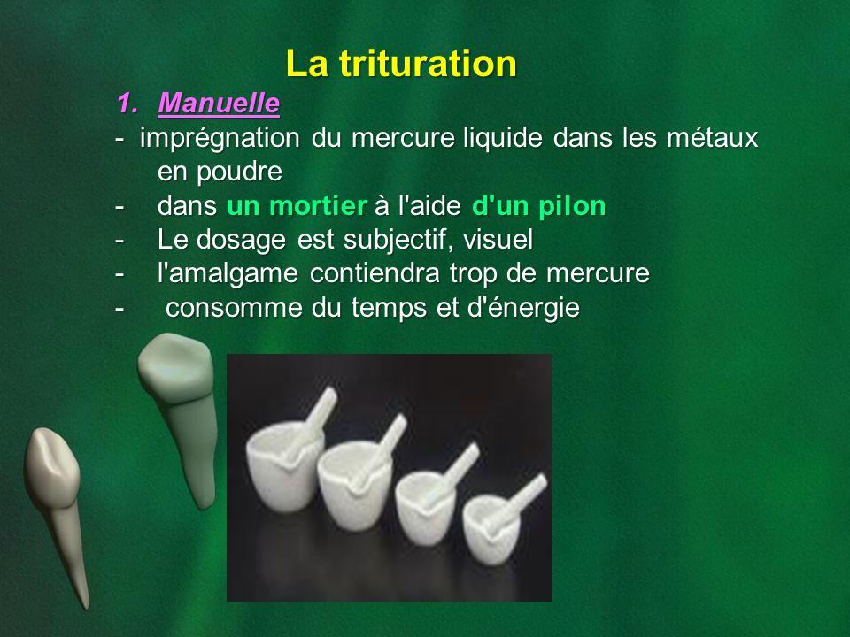 La trituration 1.Manuelle - imprégnation du mercure liquide dans les métaux en poudre -dans un mortier à l'aide d'un pilon -Le dosage est subjectif, v