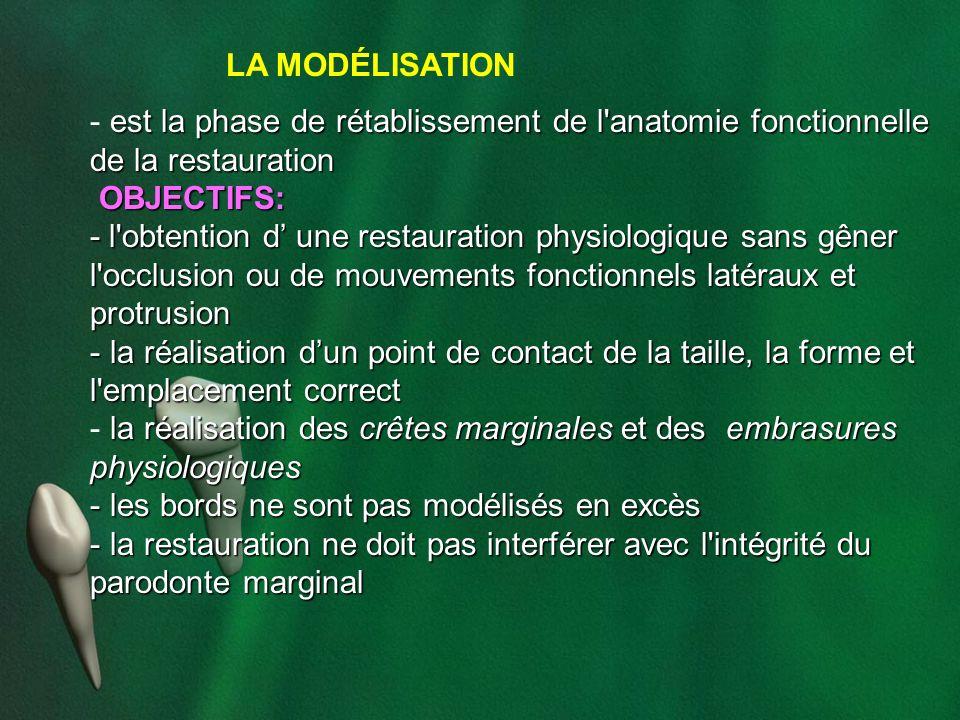 LA MODÉLISATION est la phase de rétablissement de l'anatomie fonctionnelle de la restauration - est la phase de rétablissement de l'anatomie fonctionn