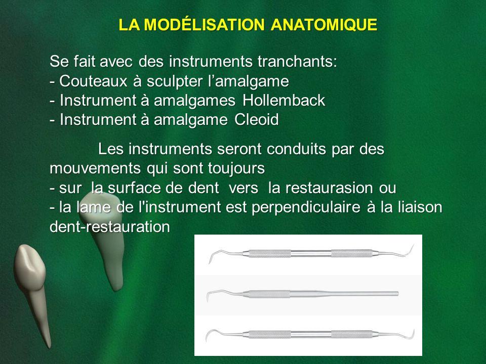LA MODÉLISATION ANATOMIQUE Se fait avec des instruments tranchants: - Couteaux à sculpter lamalgame - Instrument à amalgames Hollemback - Instrument à