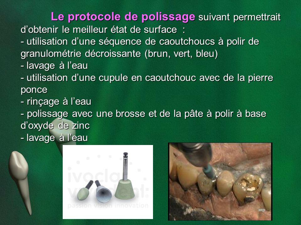 Le protocole de polissage suivant permettrait dobtenir le meilleur état de surface : - utilisation dune séquence de caoutchoucs à polir de granulométr