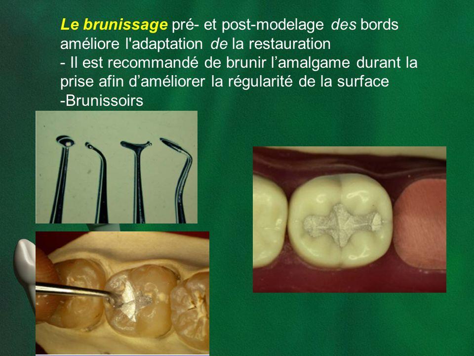 Le brunissage pré- et post-modelage des bords améliore l'adaptation de la restauration - Il est recommandé de brunir lamalgame durant la prise afin da