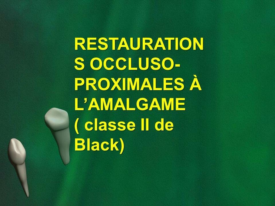 RESTAURATION S OCCLUSO- PROXIMALES À LAMALGAME ( classe II de Black)