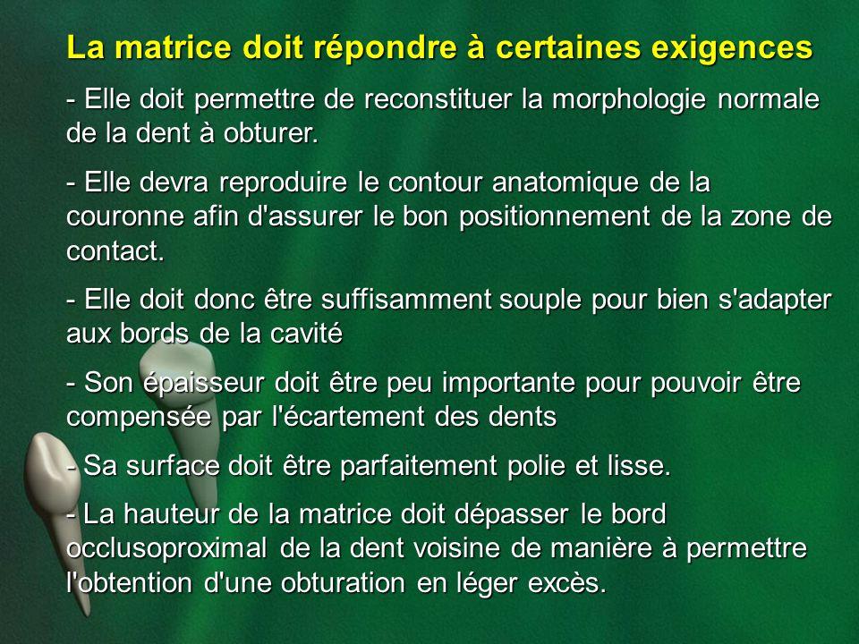 La matrice doit répondre à certaines exigences - Elle doit permettre de reconstituer la morphologie normale de la dent à obturer. - Elle devra reprodu