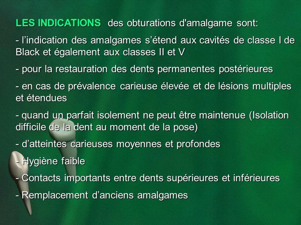 LES INDICATIONS des obturations d'amalgame sont: - lindication des amalgames sétend aux cavités de classe I de Black et également aux classes II et V