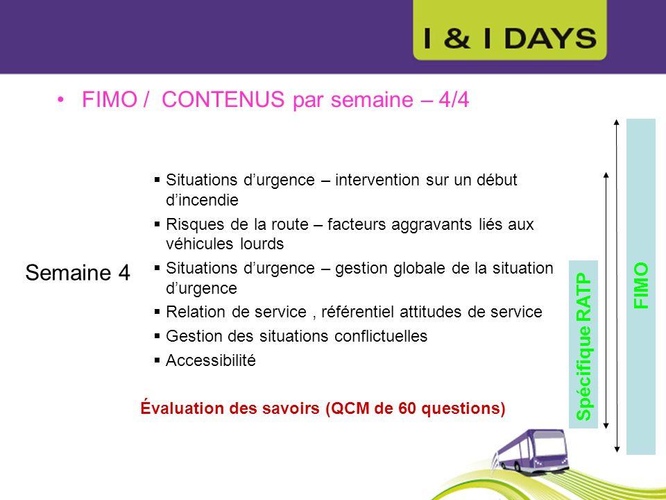 FIMO / CONTENUS par semaine – 4/4 Semaine 4 Situations durgence – intervention sur un début dincendie Risques de la route – facteurs aggravants liés a