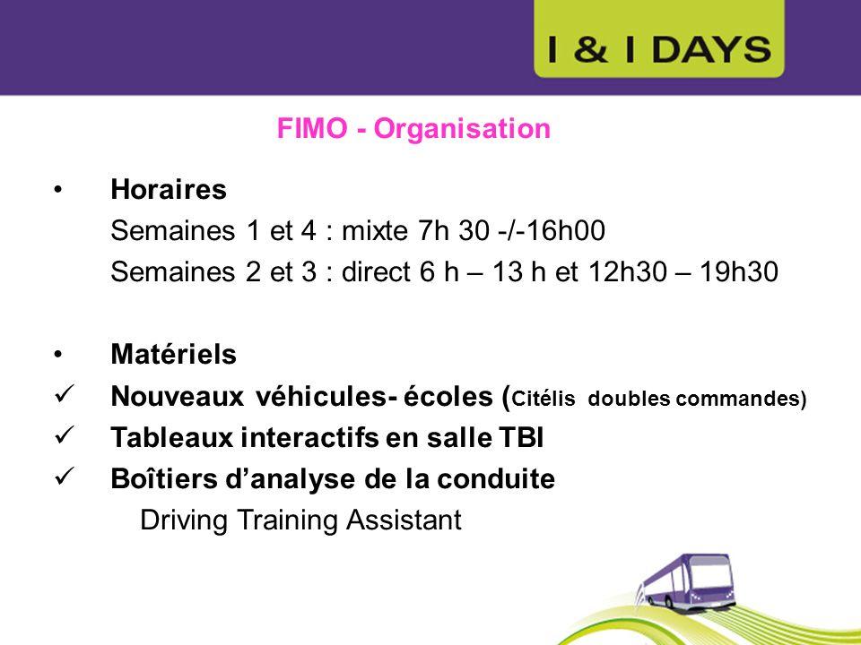 FIMO - Organisation Horaires Semaines 1 et 4 : mixte 7h 30 -/-16h00 Semaines 2 et 3 : direct 6 h – 13 h et 12h30 – 19h30 Matériels Nouveaux véhicules-