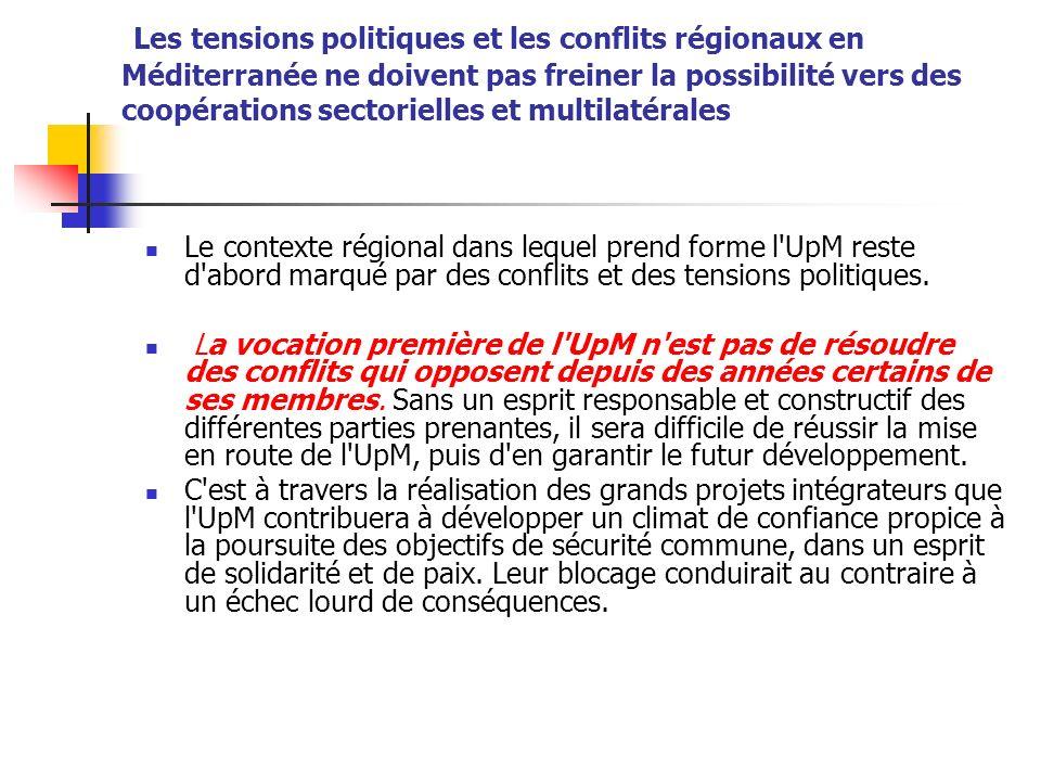 Les tensions politiques et les conflits régionaux en Méditerranée ne doivent pas freiner la possibilité vers des coopérations sectorielles et multilatérales Le contexte régional dans lequel prend forme l UpM reste d abord marqué par des conflits et des tensions politiques.
