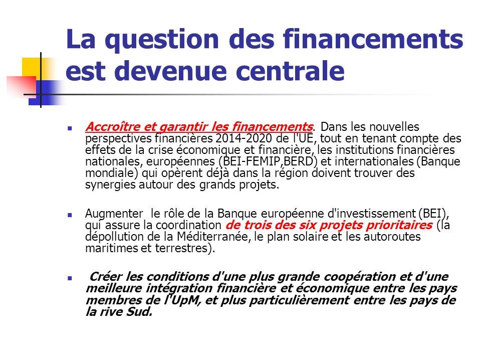 La question des financements est devenue centrale Accroître et garantir les financements.