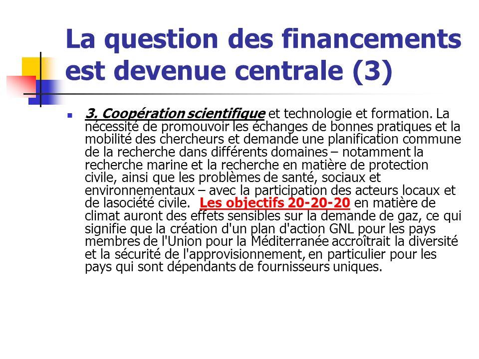 La question des financements est devenue centrale (3) 3.