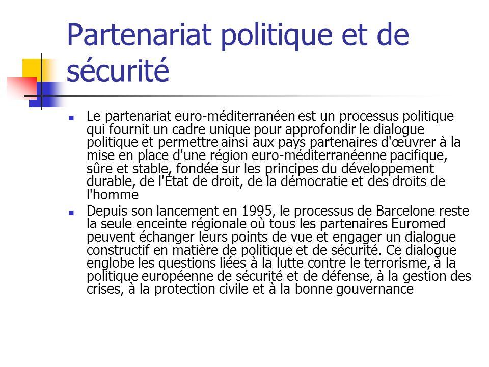 Partenariat politique et de sécurité Le partenariat euro-méditerranéen est un processus politique qui fournit un cadre unique pour approfondir le dialogue politique et permettre ainsi aux pays partenaires d œuvrer à la mise en place d une région euro-méditerranéenne pacifique, sûre et stable, fondée sur les principes du développement durable, de l État de droit, de la démocratie et des droits de l homme Depuis son lancement en 1995, le processus de Barcelone reste la seule enceinte régionale où tous les partenaires Euromed peuvent échanger leurs points de vue et engager un dialogue constructif en matière de politique et de sécurité.
