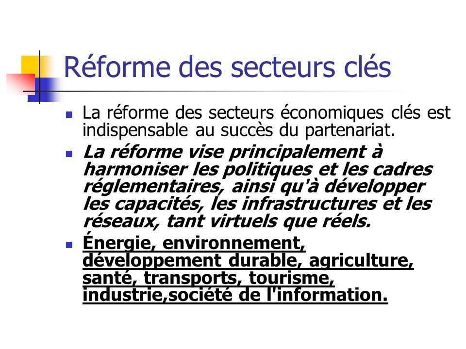 Réforme des secteurs clés La réforme des secteurs économiques clés est indispensable au succès du partenariat.