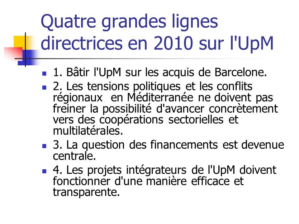 Quatre grandes lignes directrices en 2010 sur l UpM 1.