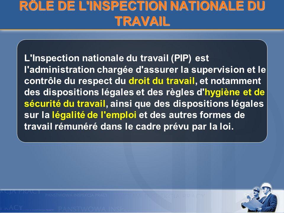 RÔLE DE L'INSPECTION NATIONALE DU TRAVAIL L'Inspection nationale du travail (PIP) est l'administration chargée d'assurer la supervision et le contrôle