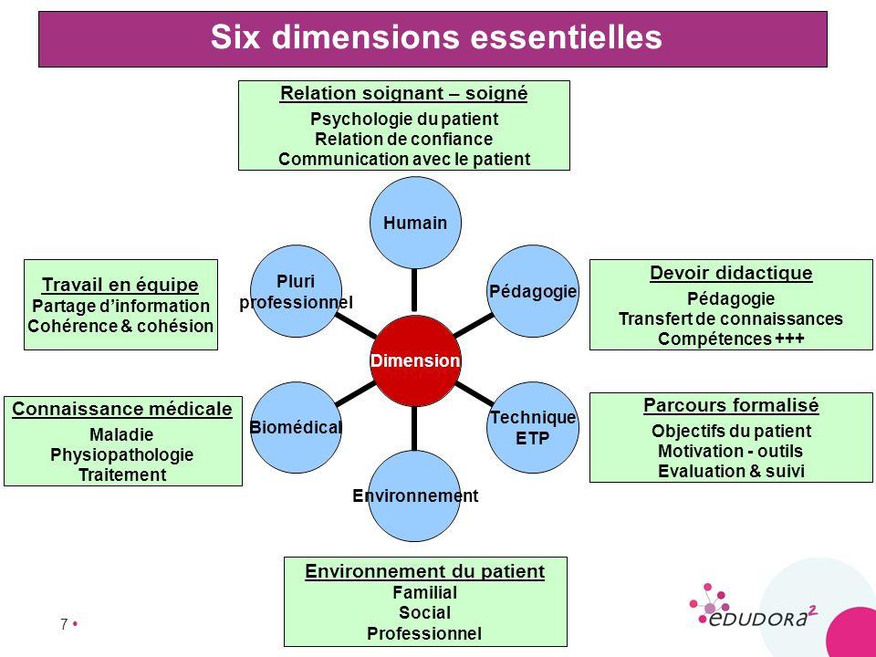 7 Six dimensions essentielles Dimension HumainPédagogie Technique ETP EnvironnementBiomédical Pluri professionnel Relation soignant – soigné Psycholog