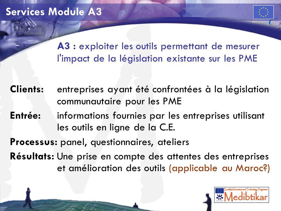 M Services Module A3 A3 : exploiter les outils permettant de mesurer l impact de la législation existante sur les PME Clients:entreprises ayant été confrontées à la législation communautaire pour les PME Entrée: informations fournies par les entreprises utilisant les outils en ligne de la C.E.