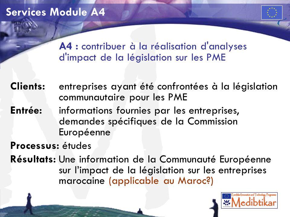 M Services Module A4 A4 : contribuer à la réalisation d analyses d impact de la législation sur les PME Clients:entreprises ayant été confrontées à la législation communautaire pour les PME Entrée: informations fournies par les entreprises, demandes spécifiques de la Commission Européenne Processus: études Résultats: Une information de la Communauté Européenne sur limpact de la législation sur les entreprises marocaine (applicable au Maroc )