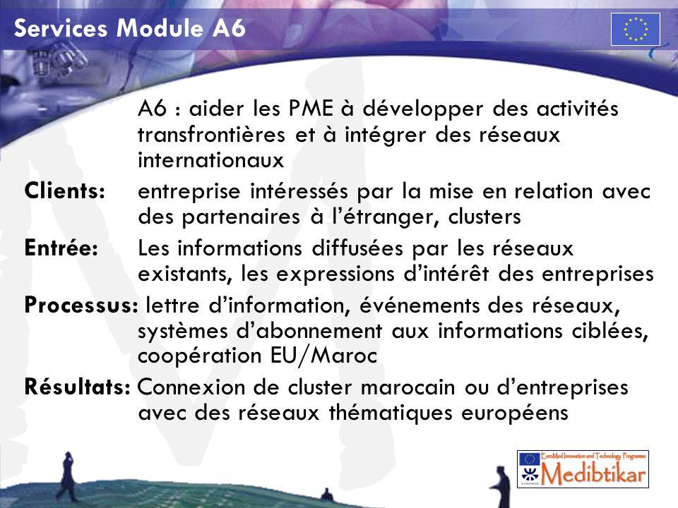 M Services Module A6 A6 : aider les PME à développer des activités transfrontières et à intégrer des réseaux internationaux Clients:entreprise intéressés par la mise en relation avec des partenaires à létranger, clusters Entrée: Les informations diffusées par les réseaux existants, les expressions dintérêt des entreprises Processus: lettre dinformation, événements des réseaux, systèmes dabonnement aux informations ciblées, coopération EU/Maroc Résultats: Connexion de cluster marocain ou dentreprises avec des réseaux thématiques européens