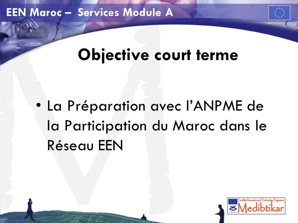 M EEN Maroc – Services Module A Objective court terme La Préparation avec lANPME de la Participation du Maroc dans le Réseau EEN