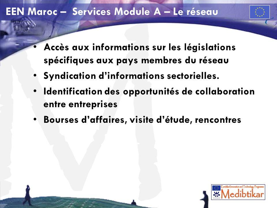 M EEN Maroc – Services Module A – Le réseau Accès aux informations sur les législations spécifiques aux pays membres du réseau Syndication dinformations sectorielles.