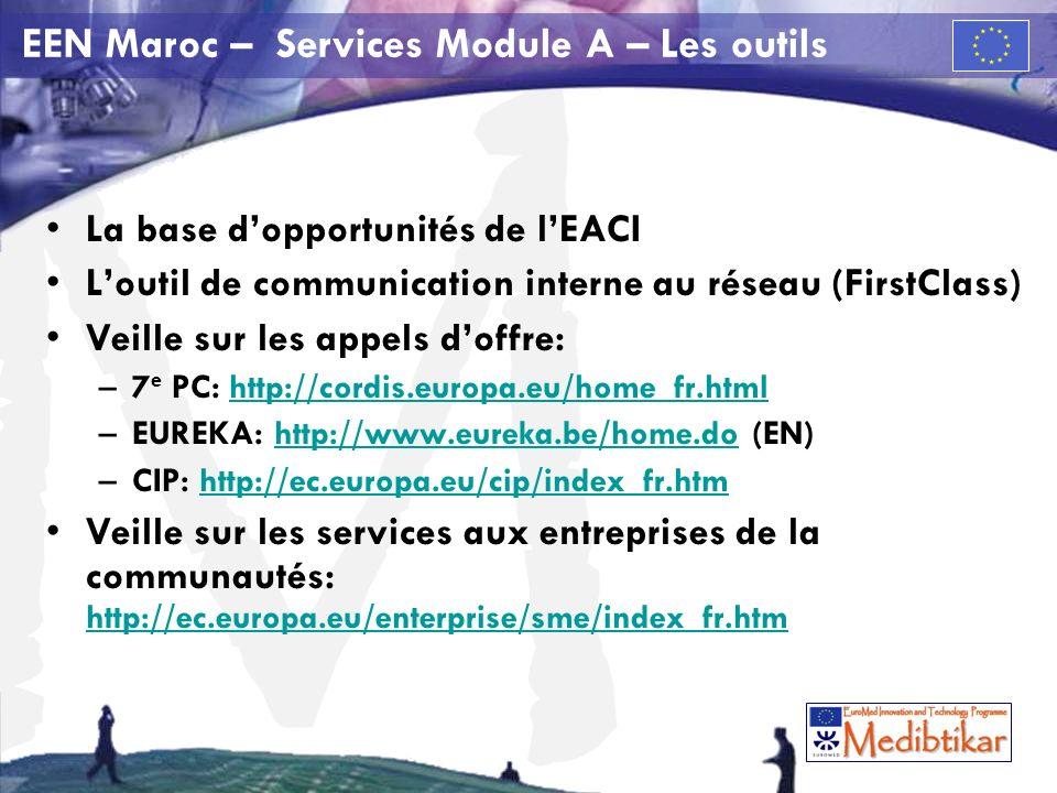 M EEN Maroc – Services Module A – Les outils La base dopportunités de lEACI Loutil de communication interne au réseau (FirstClass) Veille sur les appels doffre: –7 e PC: http://cordis.europa.eu/home_fr.htmlhttp://cordis.europa.eu/home_fr.html –EUREKA: http://www.eureka.be/home.do (EN)http://www.eureka.be/home.do –CIP: http://ec.europa.eu/cip/index_fr.htmhttp://ec.europa.eu/cip/index_fr.htm Veille sur les services aux entreprises de la communautés: http://ec.europa.eu/enterprise/sme/index_fr.htm http://ec.europa.eu/enterprise/sme/index_fr.htm