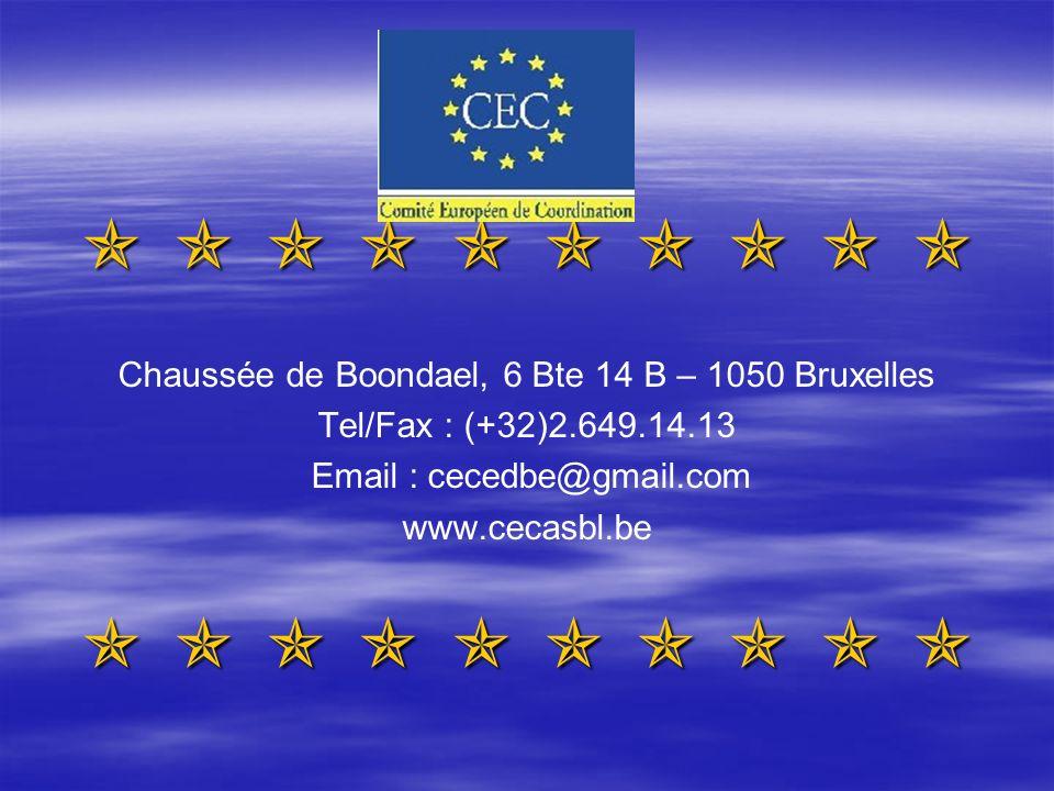 Chaussée de Boondael, 6 Bte 14 B – 1050 Bruxelles Tel/Fax : (+32)2.649.14.13 Email : cecedbe@gmail.com www.cecasbl.be