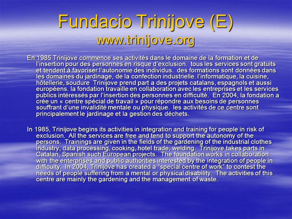 Fundacio Trinijove (E) www.trinijove.org En 1985 Trinijove commence ses activités dans le domaine de la formation et de linsertion pour des personnes