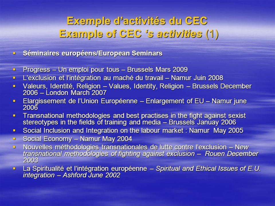 Exemple dactivités du CEC Example of CEC s activities (1) Séminaires européens/European Seminars Séminaires européens/European Seminars Progress – Un