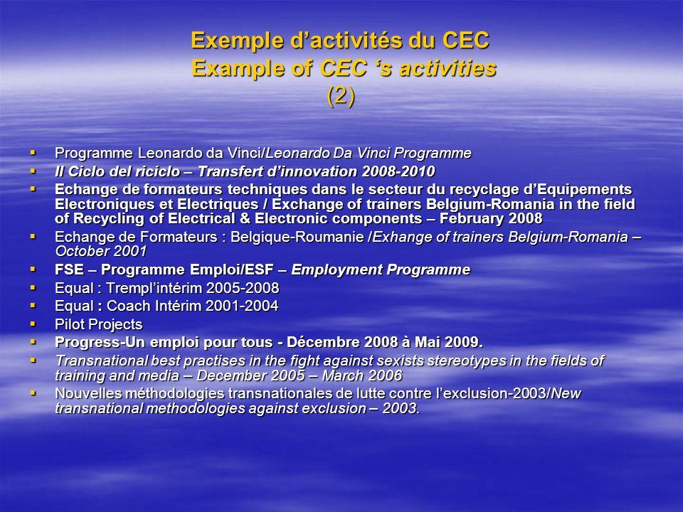 Exemple dactivités du CEC Example of CEC s activities (2) Programme Leonardo da Vinci/Leonardo Da Vinci Programme Programme Leonardo da Vinci/Leonardo
