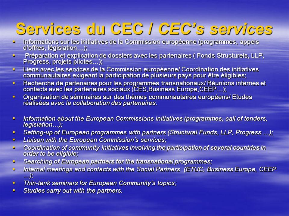 Services du CEC / CECs services Informations sur les initiatives de la Commission européenne (programmes, appels doffres, législation…); Informations