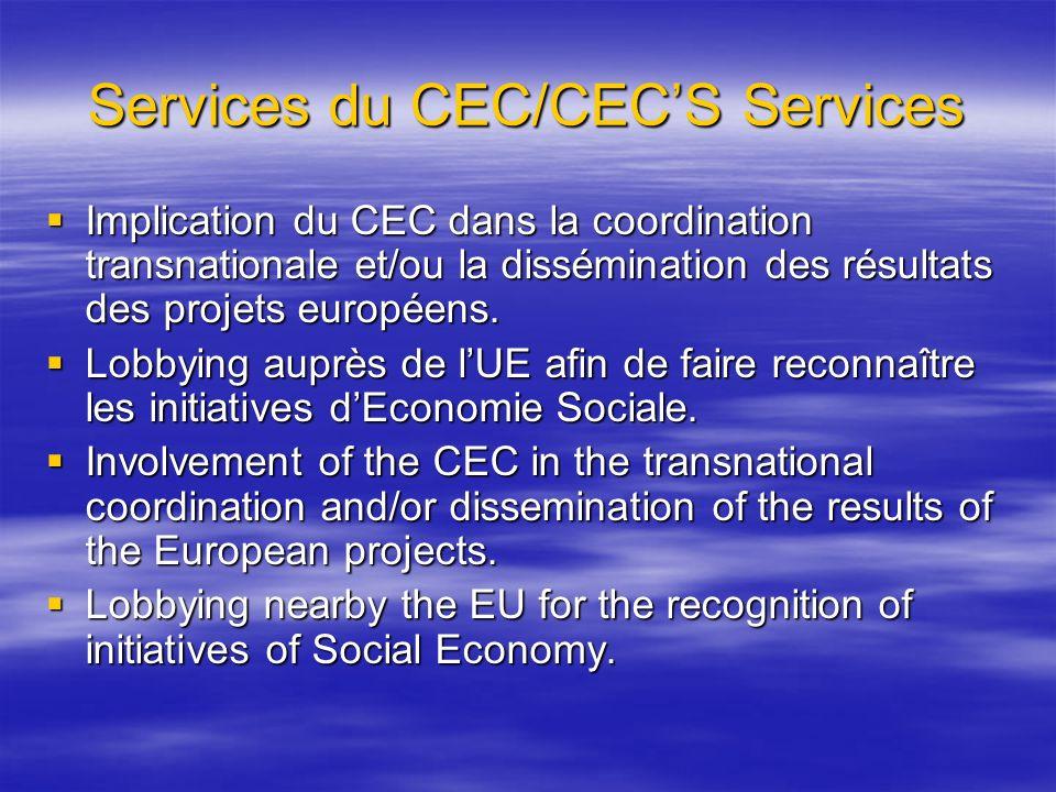 Services du CEC/CECS Services Implication du CEC dans la coordination transnationale et/ou la dissémination des résultats des projets européens. Impli