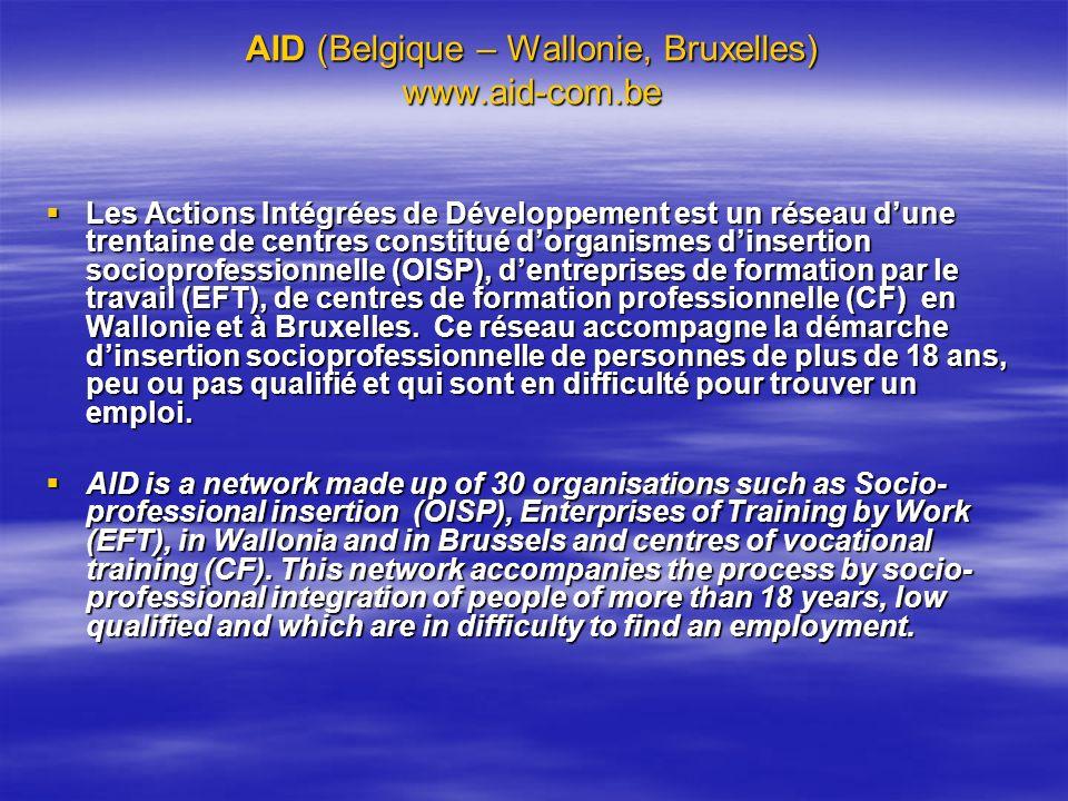 AID (Belgique – Wallonie, Bruxelles) www.aid-com.be Les Actions Intégrées de Développement est un réseau dune trentaine de centres constitué dorganism