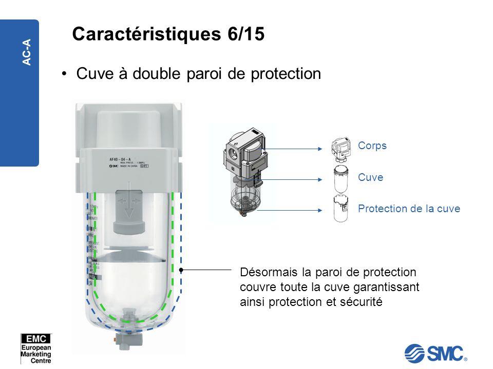 AC-A Caractéristiques 6/15 Cuve à double paroi de protection Désormais la paroi de protection couvre toute la cuve garantissant ainsi protection et sé